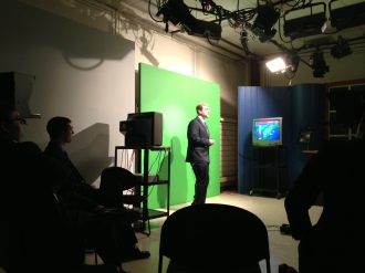 This is our video classroom at Lyndon. We do two semesters here of instruction and practice and two semesters of live half-hour newscasts on News 7.